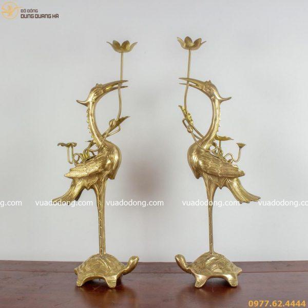 Hạc thờ bằng đồng vàng thanh cao