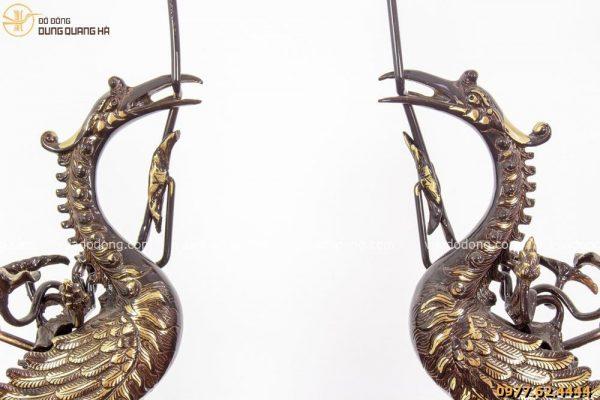 Đôi hạc thờ bằng đồng vàng hai màu