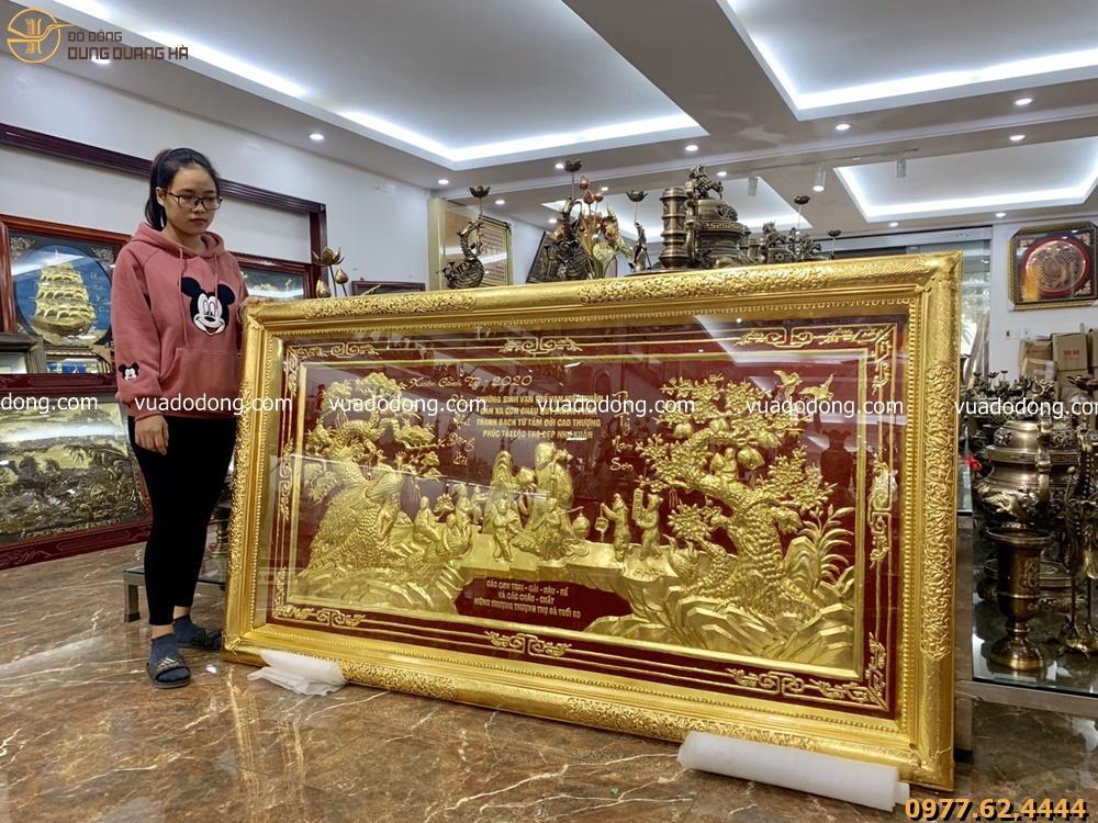 Tranh mừng thọ khung liền đồng dát vàng 2m3 x 1m2
