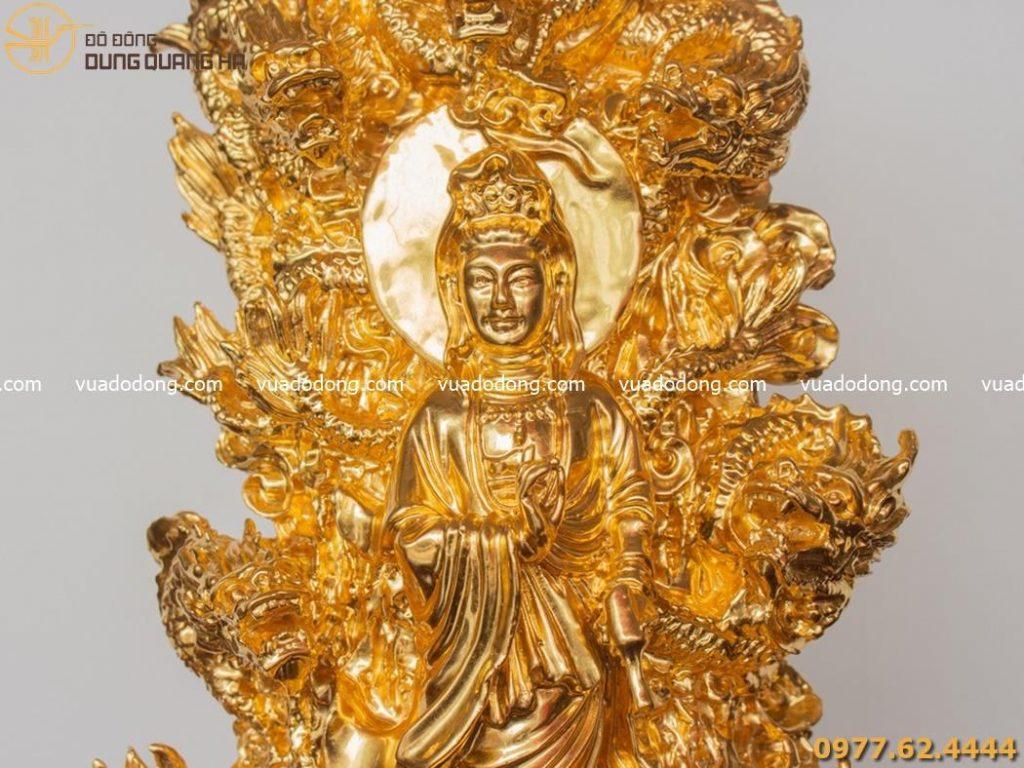 Tượng Phật Quan Âm tòa cửu long mạ vàng 24k