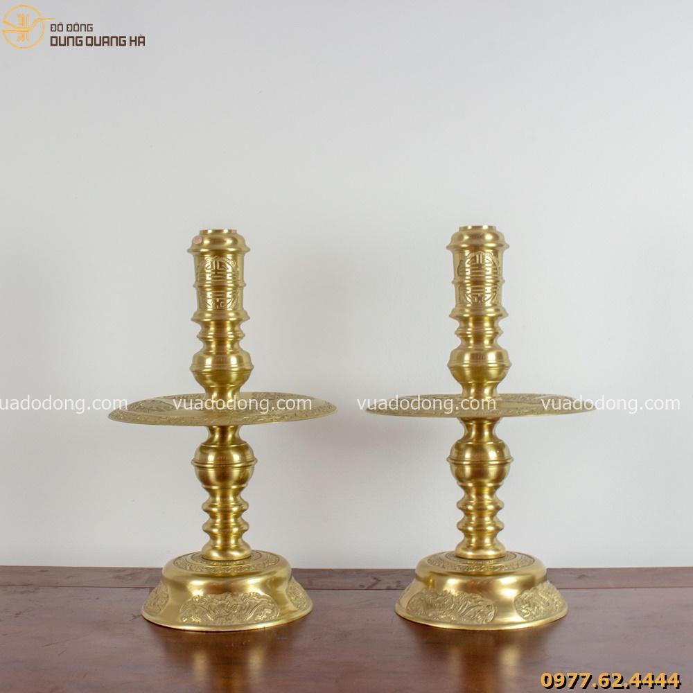 Bộ tam sự đỉnh nến bằng đồng vàng chạm rồng