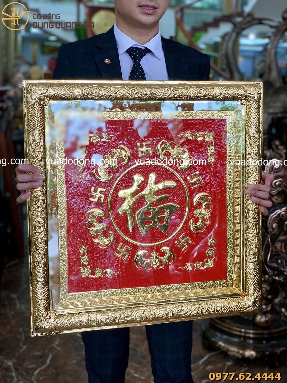 Tranh đồng chữ Phúc kiểu chữ Hán mạ vàng khung vuông liền đồng
