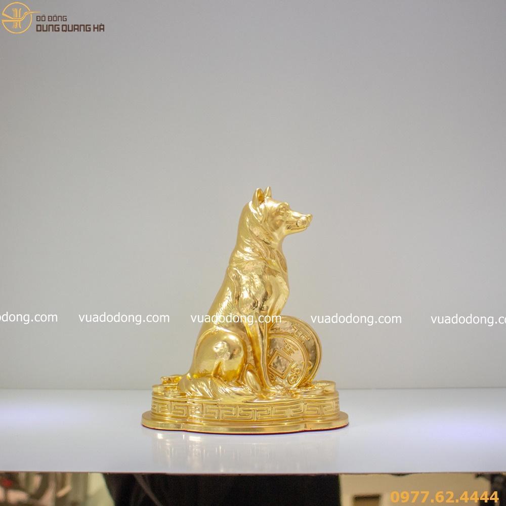 Tượng chó phong thủy tài lộc thếp vàng