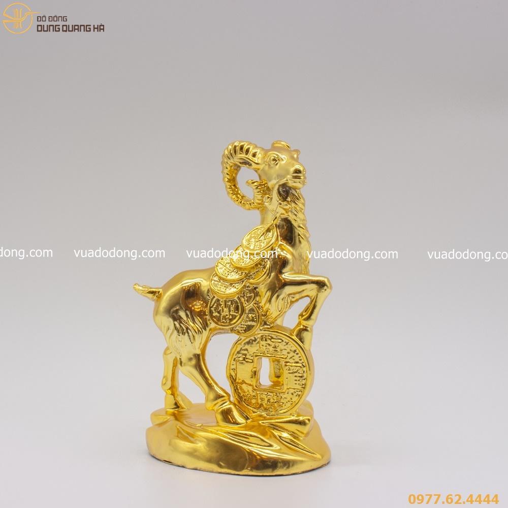 Tượng dê bằng đồng mạ vàng 24K