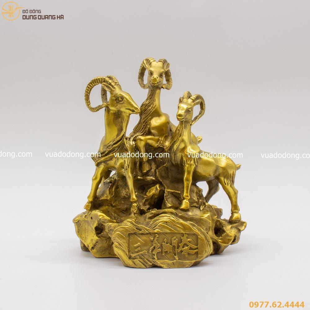 Tượng dê phong thủy Tam Dương Khai Thái bằng vàng mộc