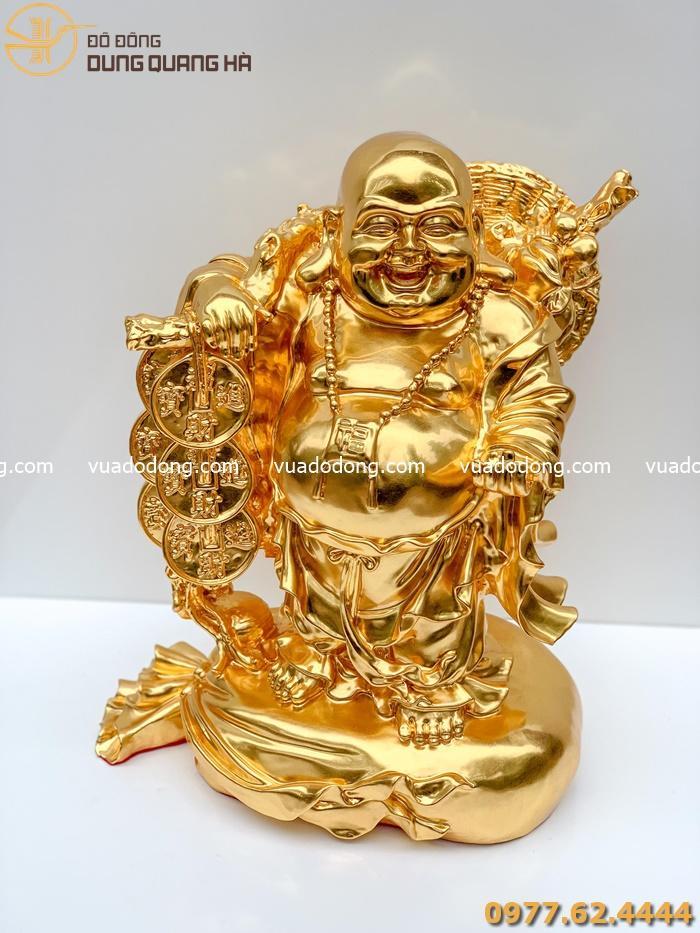 Tượng phật Di Lặc gánh xâu tiền mạ vàng 24k