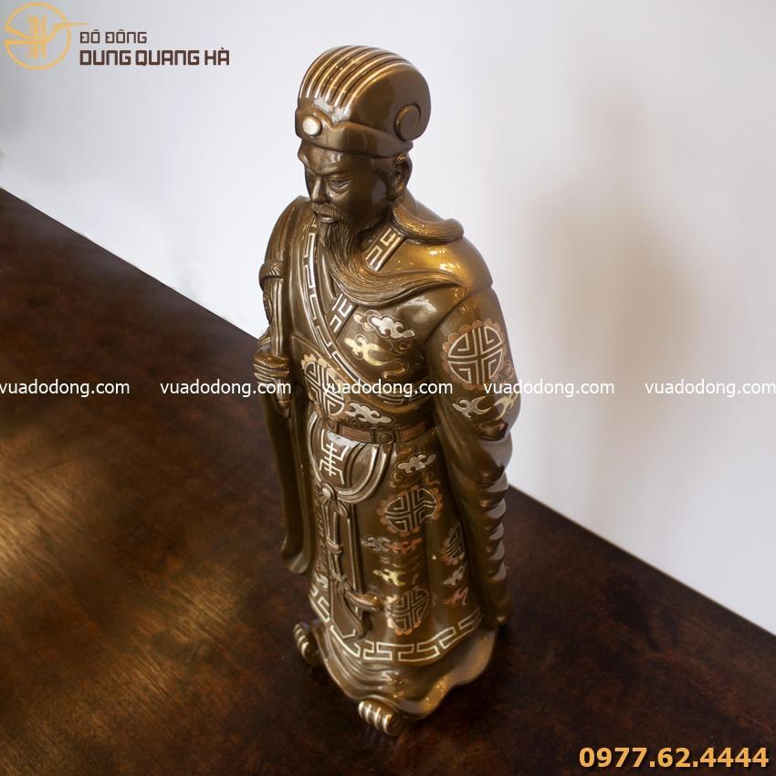 Tượng Khổng Minh bằng đồng đỏ khảm tam khí