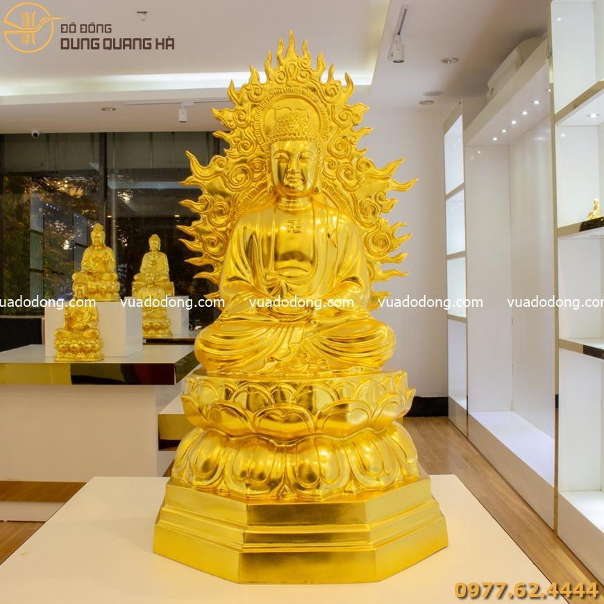 Tượng Phật A Di Đà có hào quang thếp vàng 9999