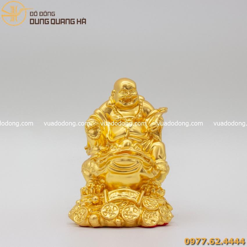 Tượng Phật Di Lặc cưỡi thiềm thừ thếp vàng sang trọng