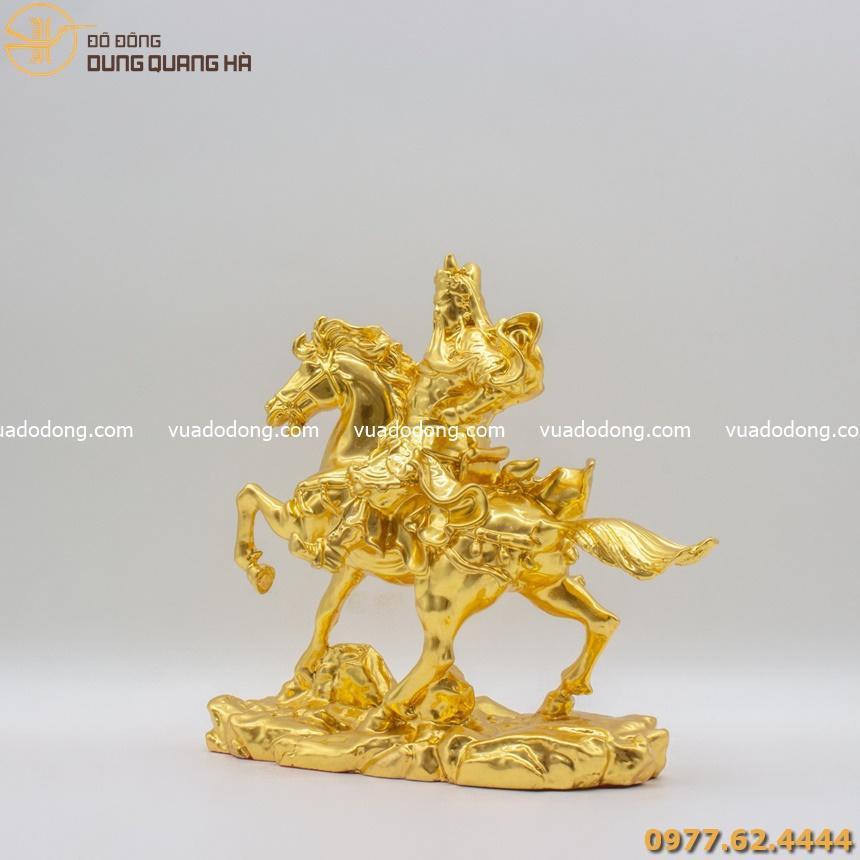 Tượng Quan Công cưỡi ngựa thếp vàng 9999