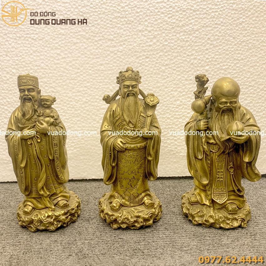 Bộ tượng Tam Đa bằng đồng vàng mộc