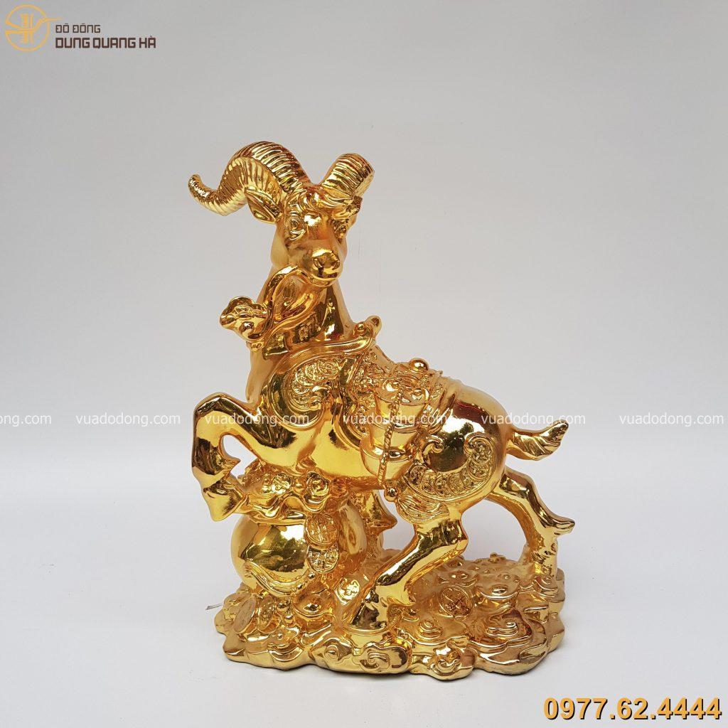 Tượng dê tài lộc mạ vàng