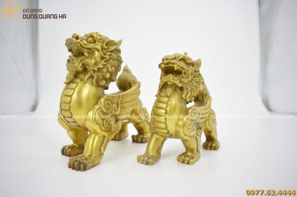 Cặp tỳ hưu bằng đồng vàng mộc