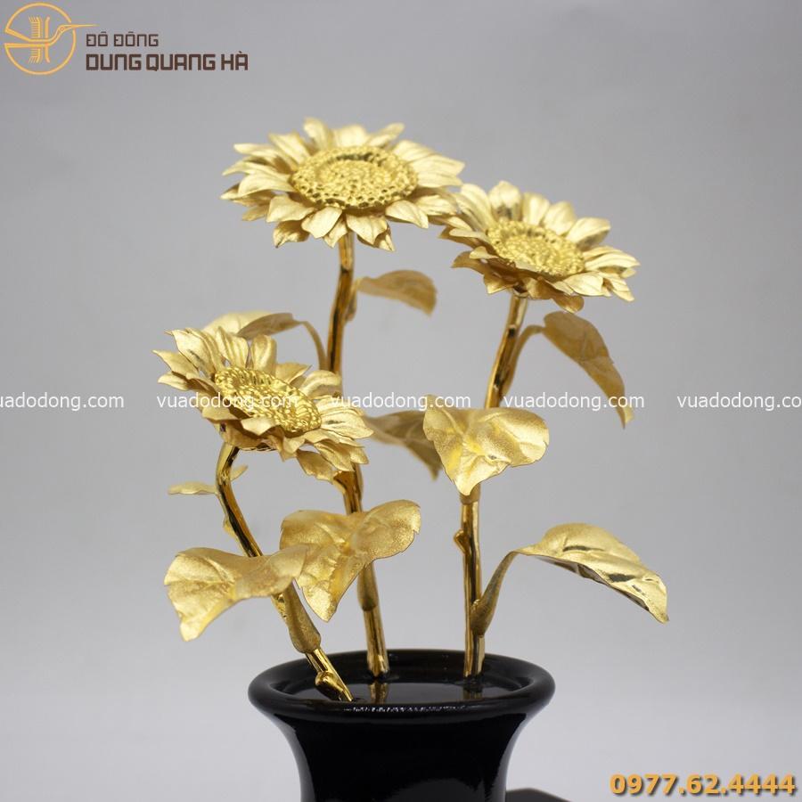 Quà tặng bằng đồng - chậu hoa hướng dương mạ vàng 24k
