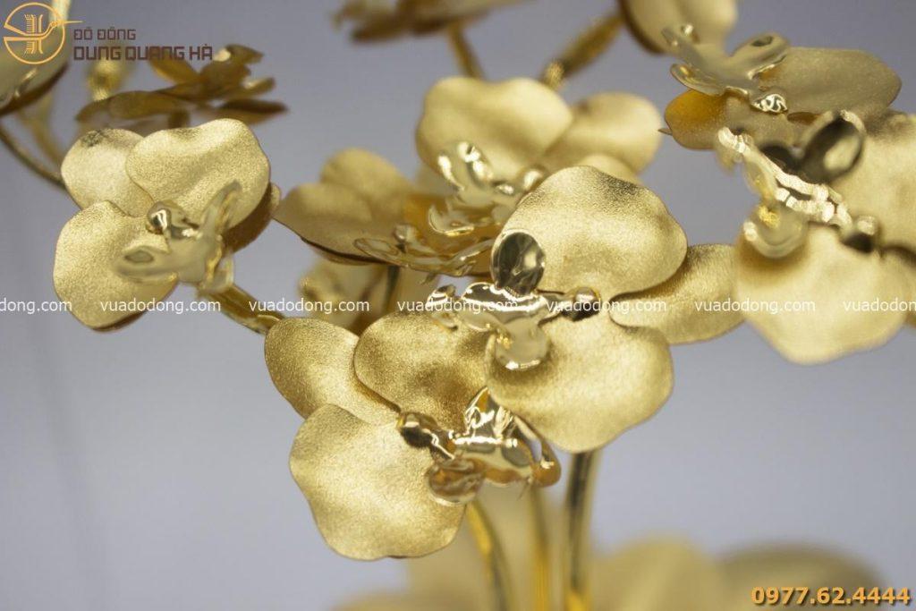 Quà tặng bằng đồng - chậu hoa lan mạ vàng 24k