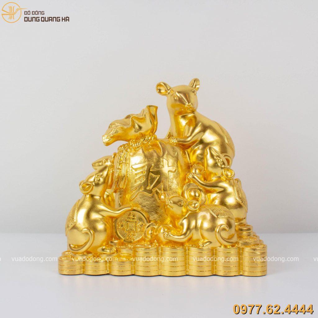 Tượng chuột ôm túi tiền tài lộc dát vàng 9999