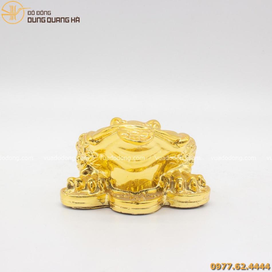 Cóc 3 chân bằng đồng ngậm tiền mạ vàng 24k