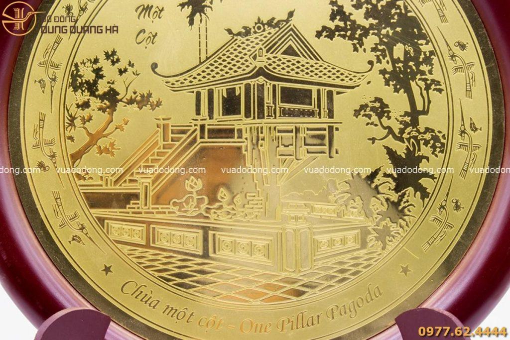 Đĩa đồng lưu niệm Chùa Một Cột - đồng vàng