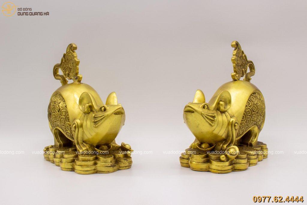 Tượng chuột phong thủy tài lộc bằng đồng vàng