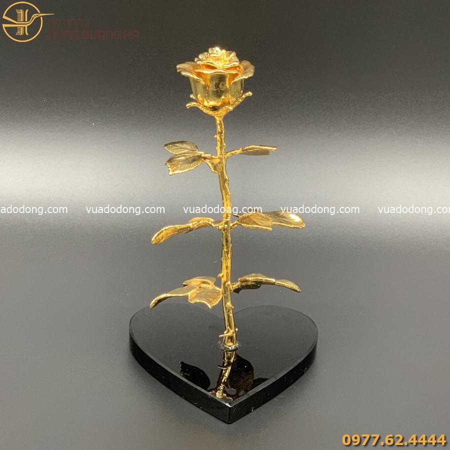 Hoa hồng mạ vàng 24k, đế hình trái tim