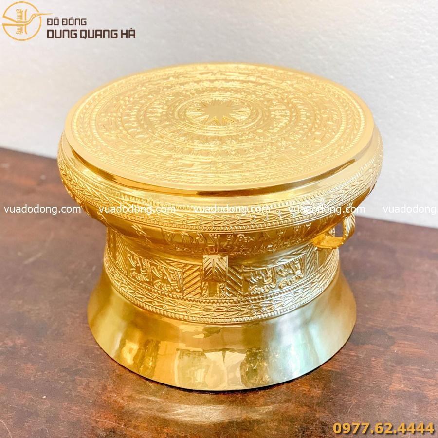 Quả trống bằng đồng vàng dát vàng cao 30cm