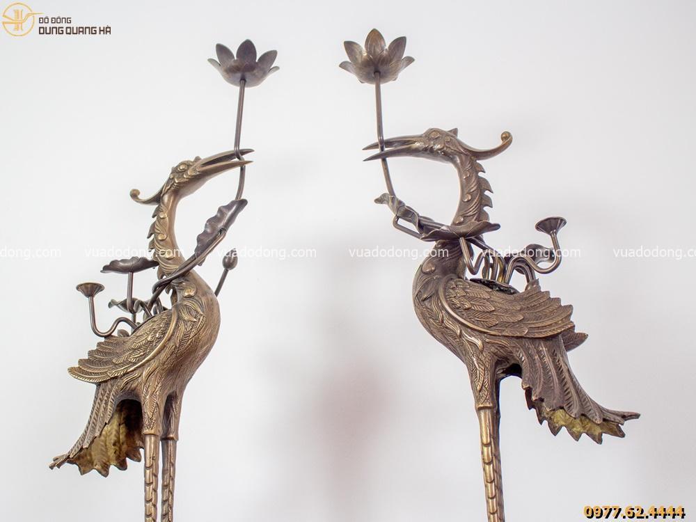 Bộ tam sự đỉnh hạc chạm nổi Phúc Lộc Thọ bằng đồng vàng hun