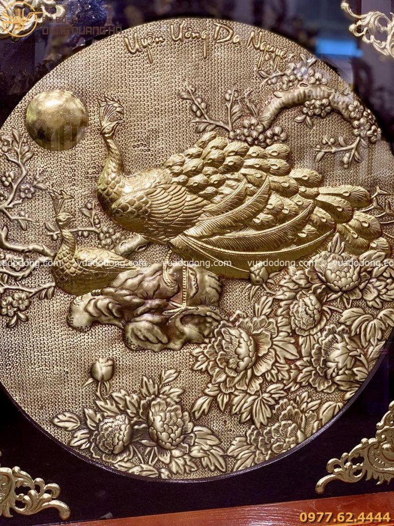 Tranh ngọc đường phú quý khung gỗ vuông, đôi chim công dát vàng