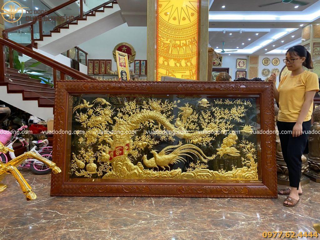 Tranh Vinh hoa Phú quý dát vàng khung gỗ hoa văn tứ quý 2m3