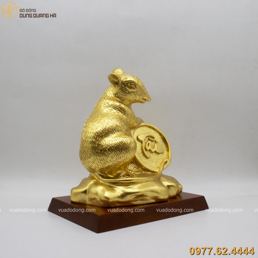 Tượng chuột ôm tiền xu chiêu tài dát vàng 9999