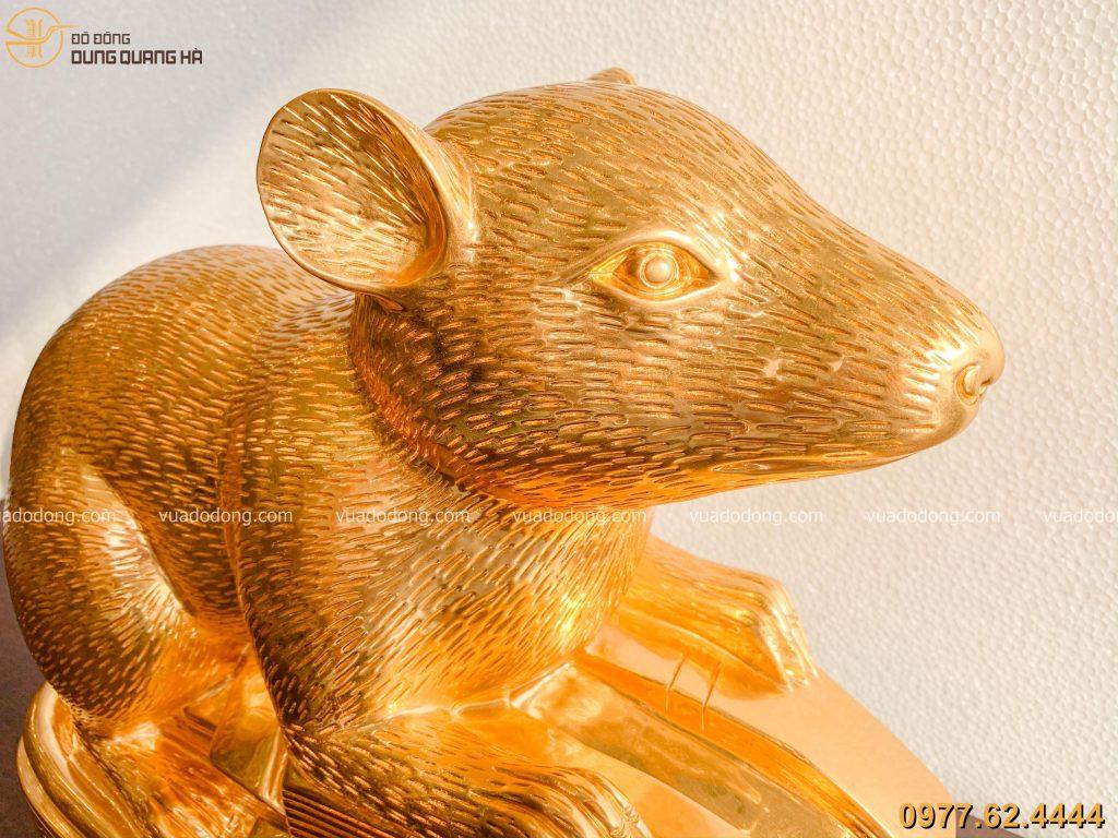 Tượng chuột phong thủy dát vàng tinh xảo, độc đáo
