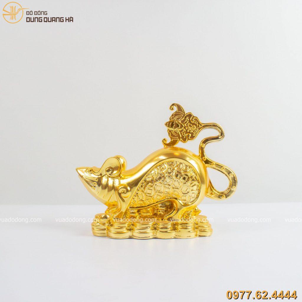 Tượng chuột tài lộc đuôi tạo hình dơi ngũ phúc dát vàng 9999