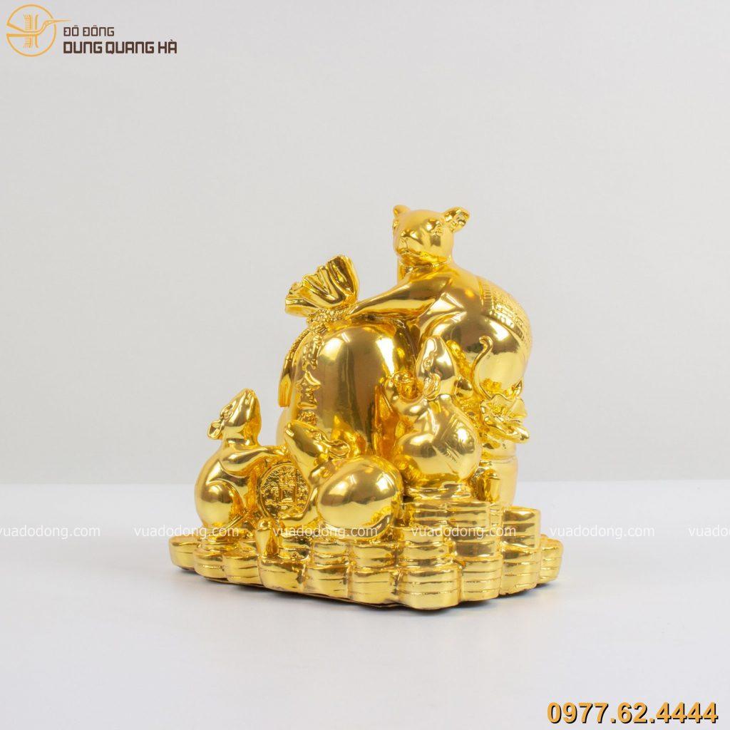 Tượng đàn chuột ôm túi vàng mạ vàng 24k