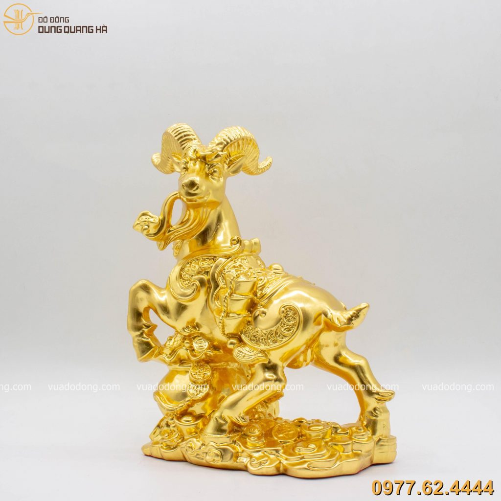 Tượng dê chở phú quý tài lộc dát vàng 9999