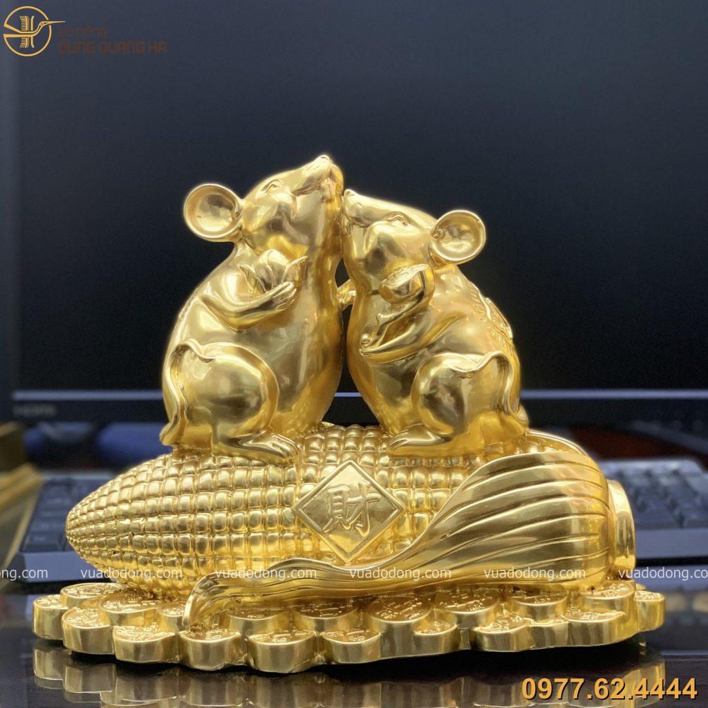 Tượng đôi chuột đứng trên bắp ngô cao 24cm thếp vàng 9999