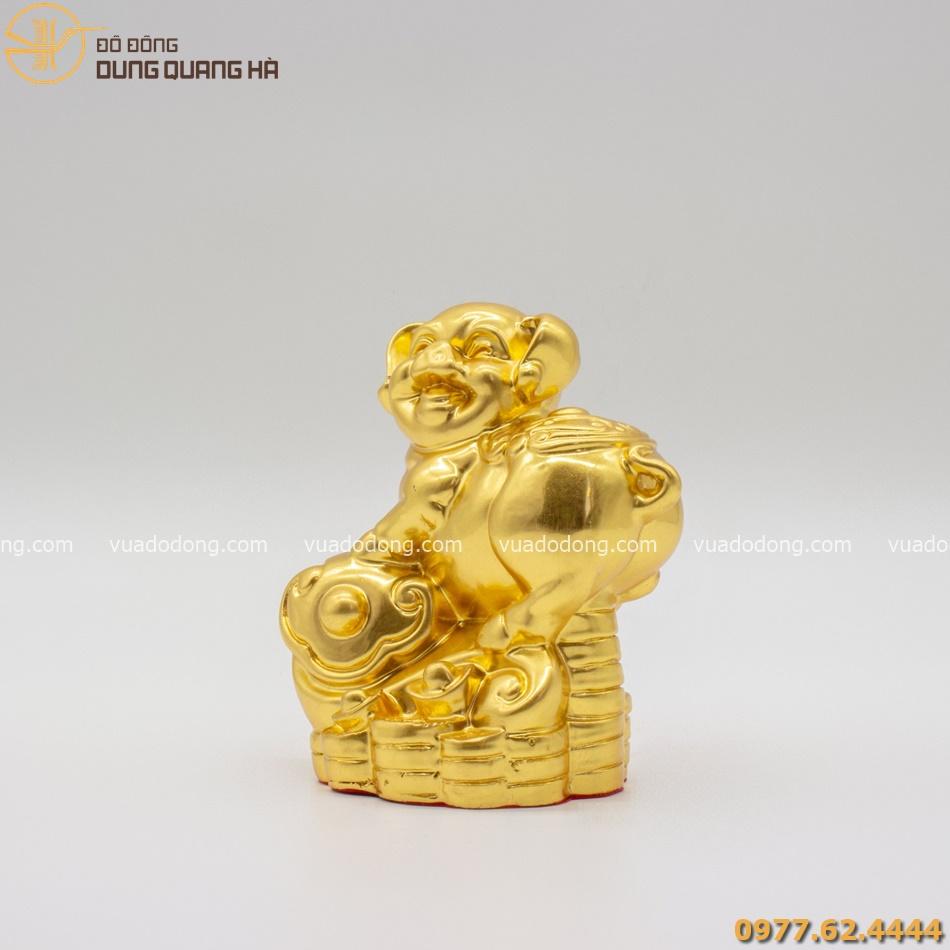 Tượng heo chiêu tài lộc dát vàng 9999