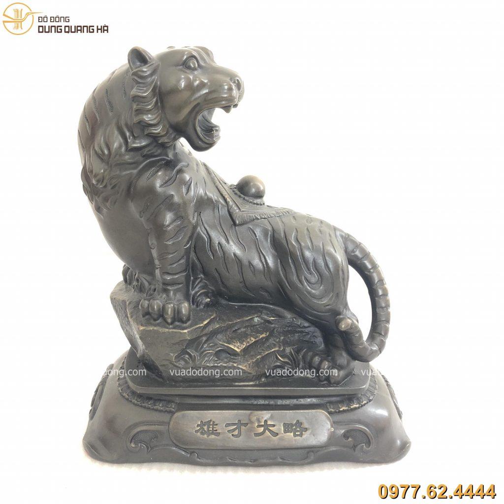 Tượng hổ phong thủy bằng đồng vàng hun đen giả cổ