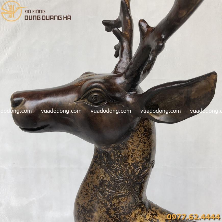 Tượng hươu trang trí phong thủy bằng đồng vàng hun