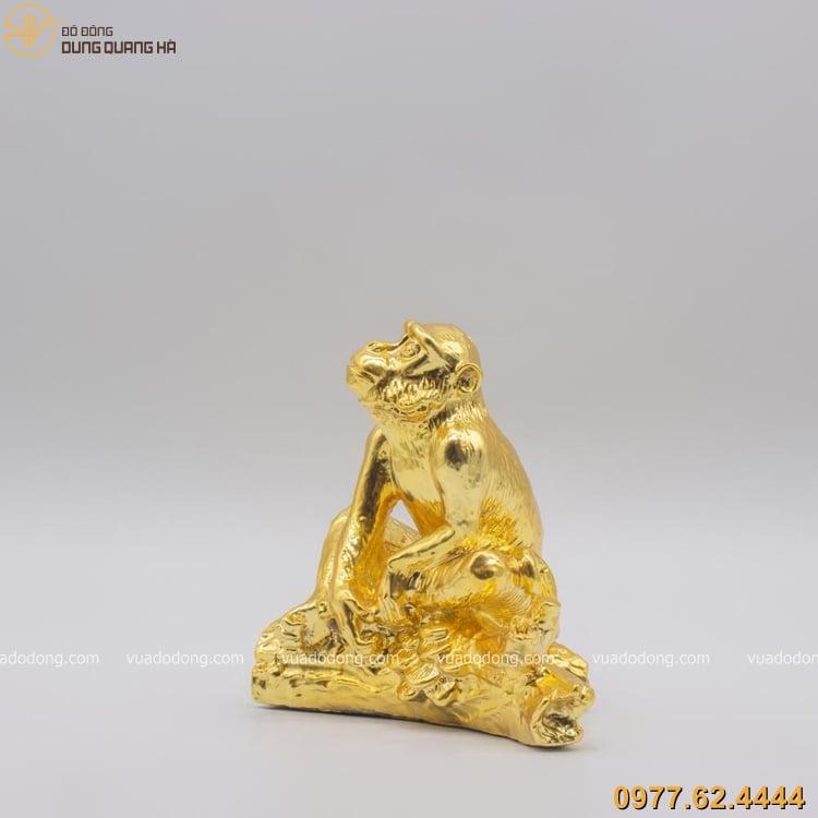 Tượng khỉ bằng đồng mạ vàng có thiết kế sang trọng và đẳng cấp