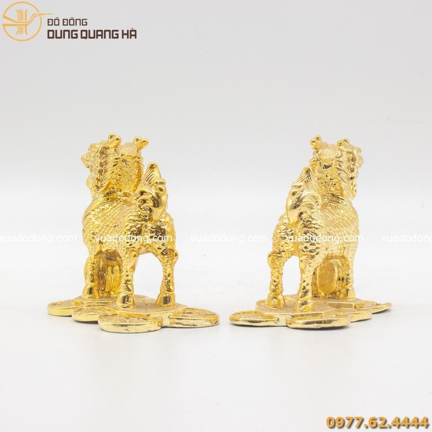 Cặp tượng kỳ lân bằng đồng mạ vàng 24k
