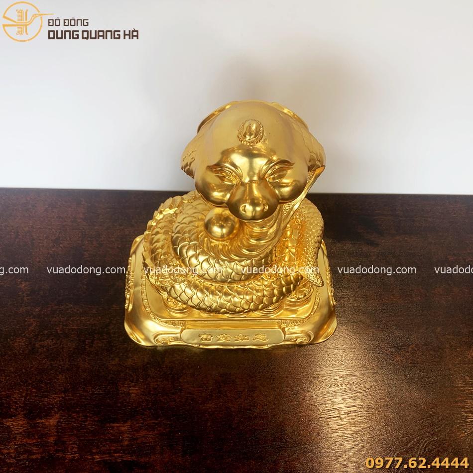 Tượng rắn chiêu phúc mạ vàng 24k