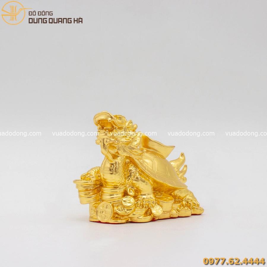 Tượng rùa đầu rồng thếp vàng 9999