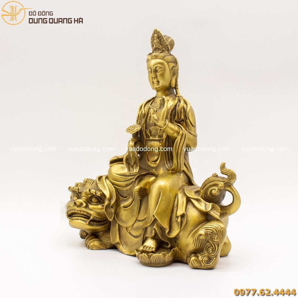 Tượng Văn Thù Bồ Tát bằng đồng vàng mộc