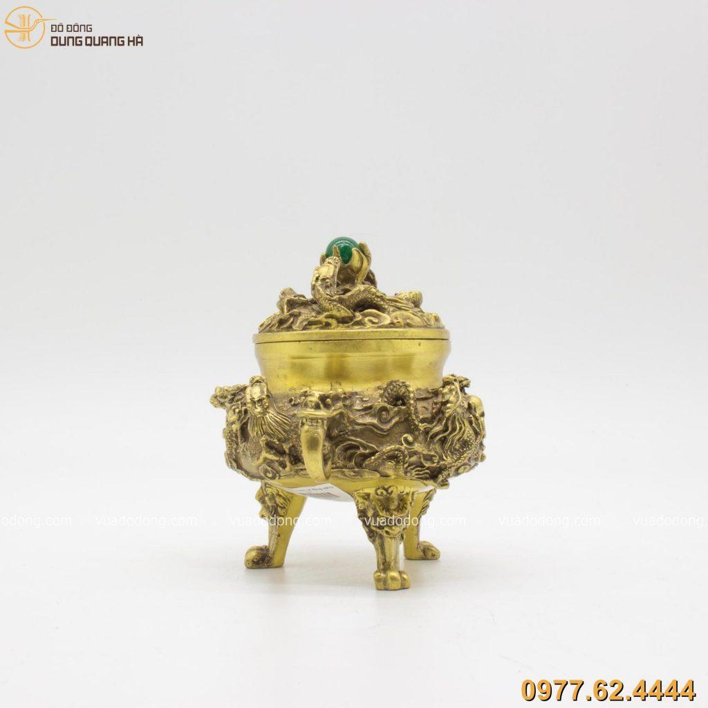 Lư xông trầm Rồng Ngọc bằng đồng vàng