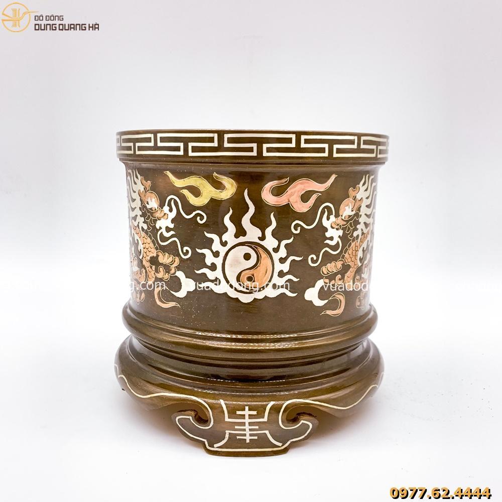 Bát hương đồng đỏ khảm tam khí với họa tiết độc đáo vô cùng đặc sắc