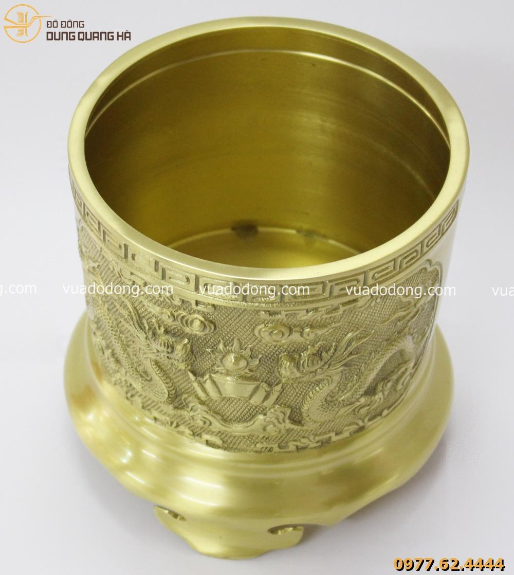 Bộ ba bát hương bằng đồng vàng mộc tinh xảo