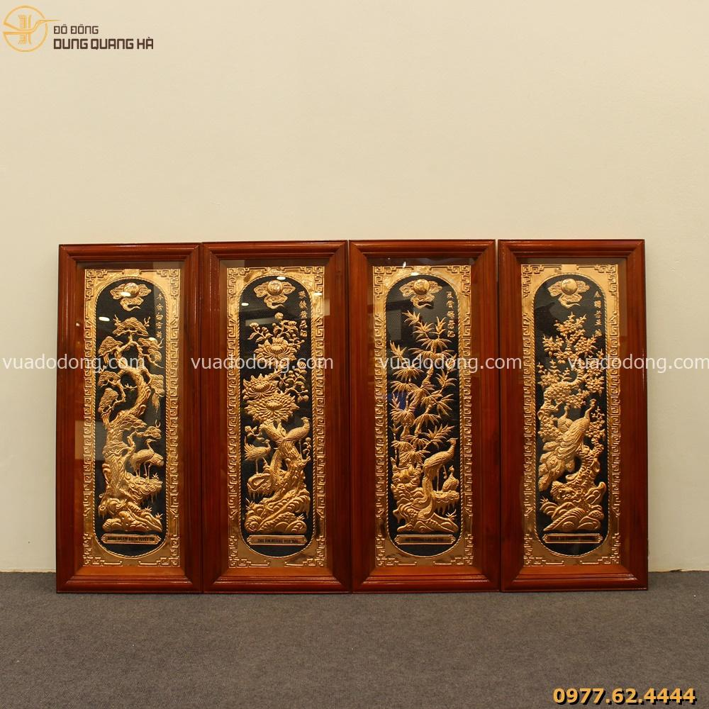 Bộ tranh tứ quý nền đồng khung gỗ cao cấp