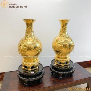 Lọ hoa phong thủy dát vàng 9999 (4)