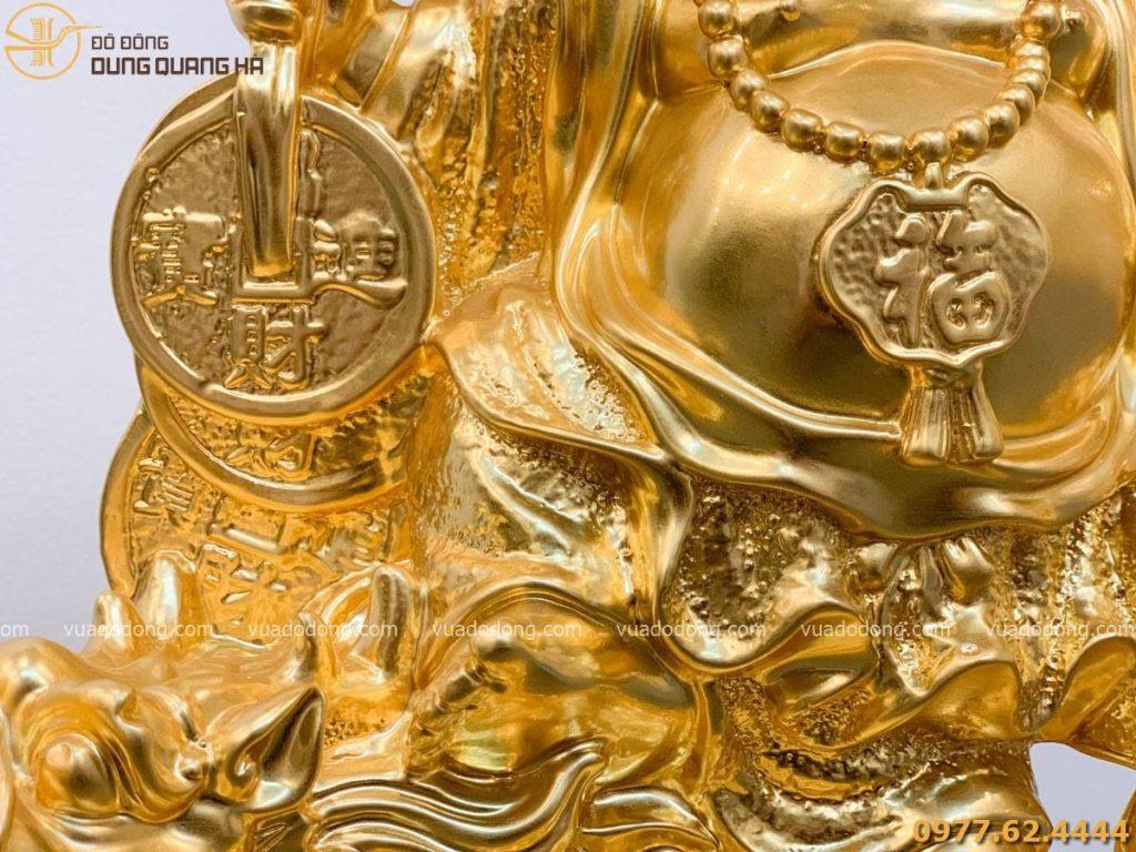 Tượng Di Lặc cưỡi long quy dát vàng (2)
