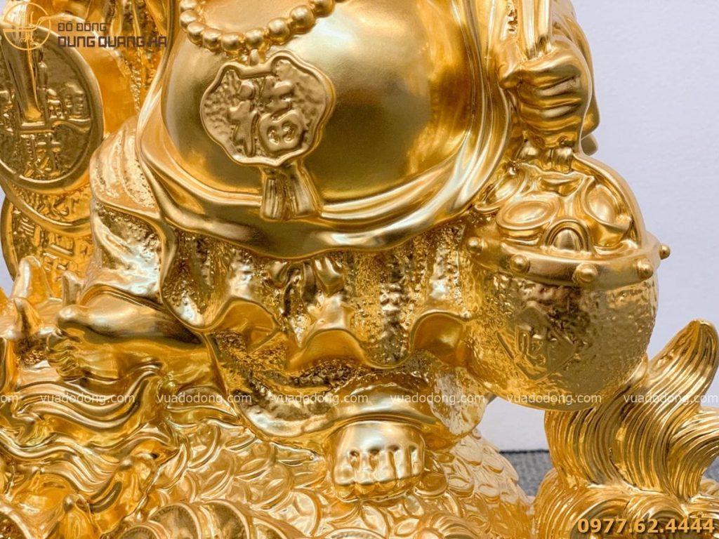 Tượng Di Lặc cưỡi long quy dát vàng (4)