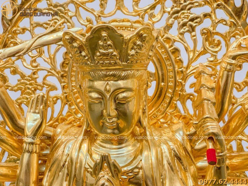 Tượng phật Chuẩn Đề dát vàng có thiết kế tỉ mỉ và tinh tế
